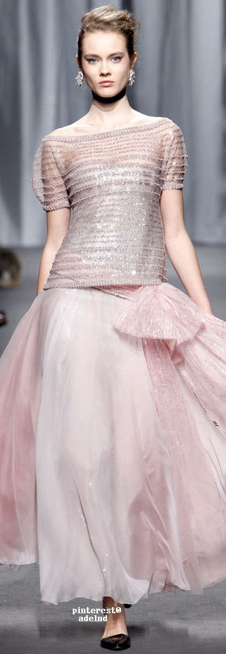 Chanel ~ Couture Spring Pink + Grey Top w Maxi Skirt 2011