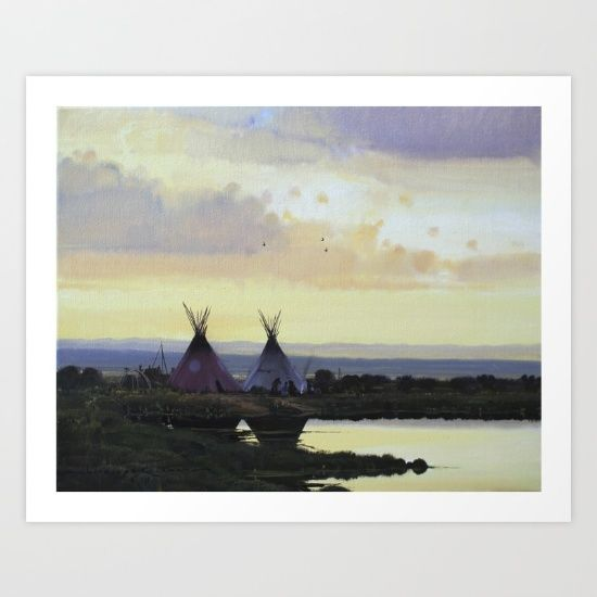 I often dream of walking into the past, through muddy river banks in the quiet of morning. When I awake Im always saddened by the realization that it was just a dream. Then I get to paint and most of my paintings are a result of my dreams and what I wish to see.<br/> <br/> Dusk, Sunset, tipi, native american, landscape, nicholas coleman