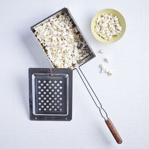 Who needs a microwave for popcorn? Durable and stovetop safe, this popcorn popper also works great over an open campfire. It features a ventilated lid to provide a consistent and even level of popping.