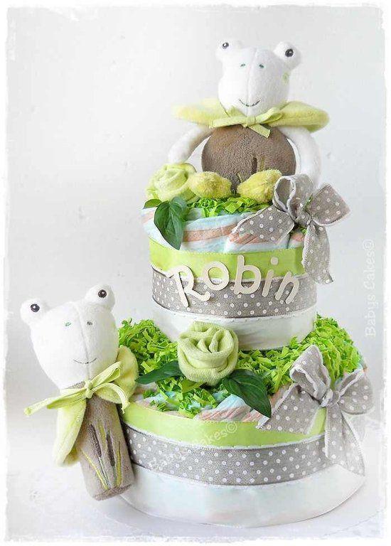 Gâteau de couches Froggies cake - Peluche musicale grenouille et son cousin le hochet #cadeaudenaissance #babyshowergift