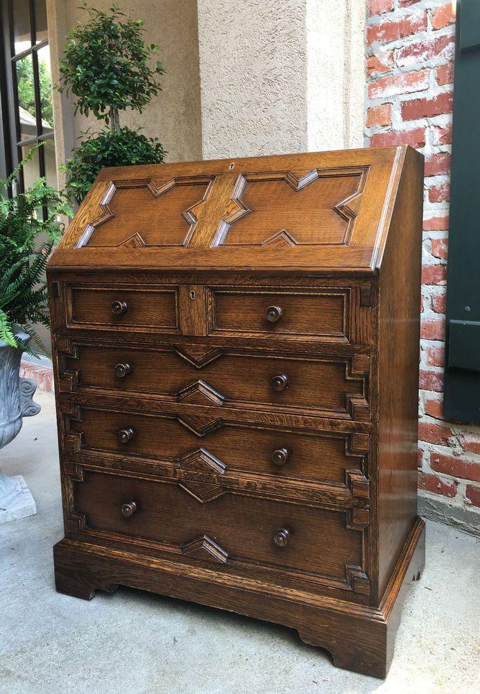 Antique English Carved Tiger Oak Desk Secretary Bureau Drop Front Jacobean  #Jacobean - 46 Best Antique English Furniture Images On Pinterest Jacobean