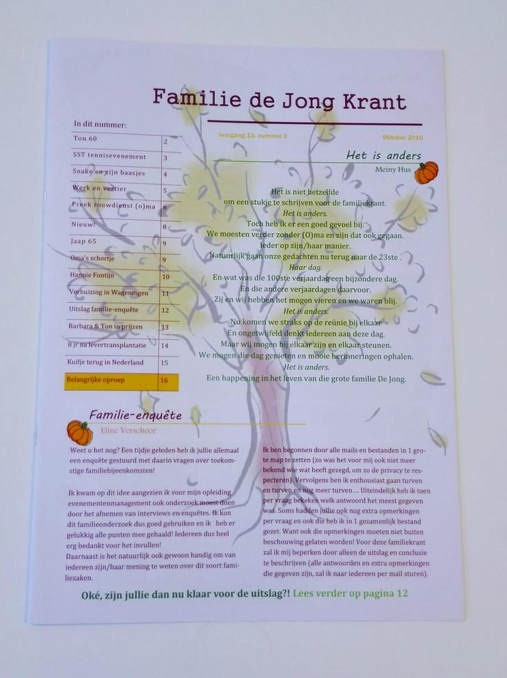 Familieblaadje, een grote familie die 4x per jaar het nieuws samenvoegt in een magazine