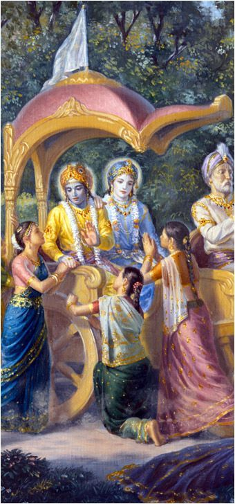 Gopis beseeching Lord Krishna not to go to Mathura leaving them.:
