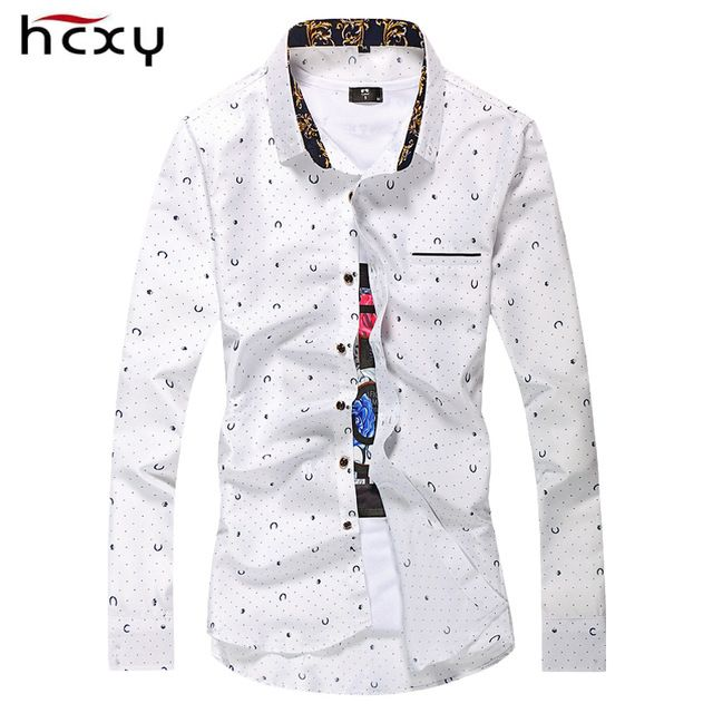 Promotion price HCXY brand M-7XL 2016 Fashion Casual Men Shirt Long Sleeve Europe Style Slim Fit Shirt for man Cotton Mens Floral Shirts just only $13.21 with free shipping worldwide  #shirtsformen Plese click on picture to see our special price for you