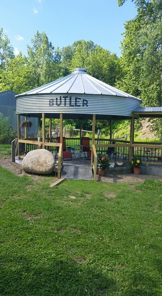 Old grain bin turned into a pavilion