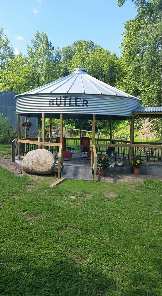 Old grain bin turned into a pavilion