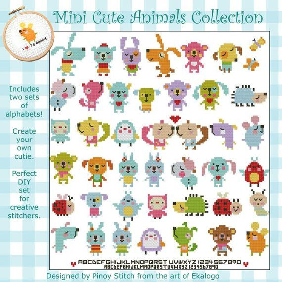 Mini Cute Animals Collection Kawaii Animals Tiny Animals Cross Stitch Pattern Pdf Instant Download Animal Cross Stitch Patterns