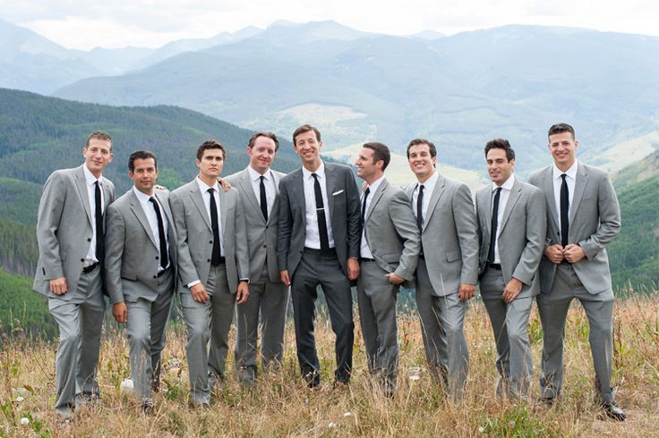 Vail Wedding Deck, The arrabelle, mountain wedding, scenic view, groom and groomsmen, grey suits