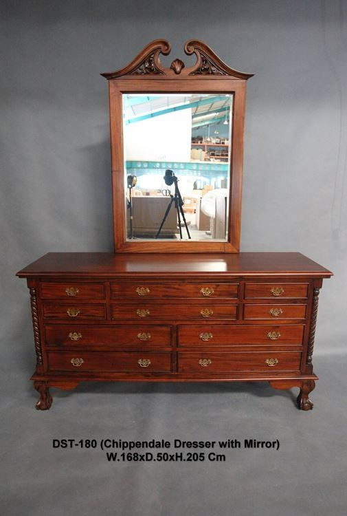 Antique Style Mahogany Bedroom Furniture Chippendale Dressing Table & Mirror