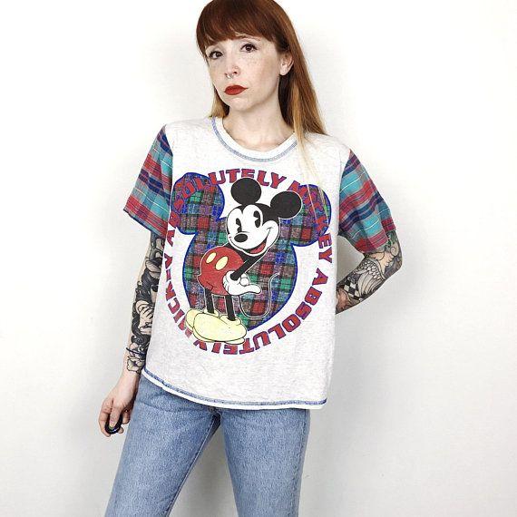 90er Grunge Mickey Mouse Plaid Getragen In Distressed Oversized T Shirt T Shirt Damen Grosse Kleine S Medium M How To Wear Fashion 90s Grunge