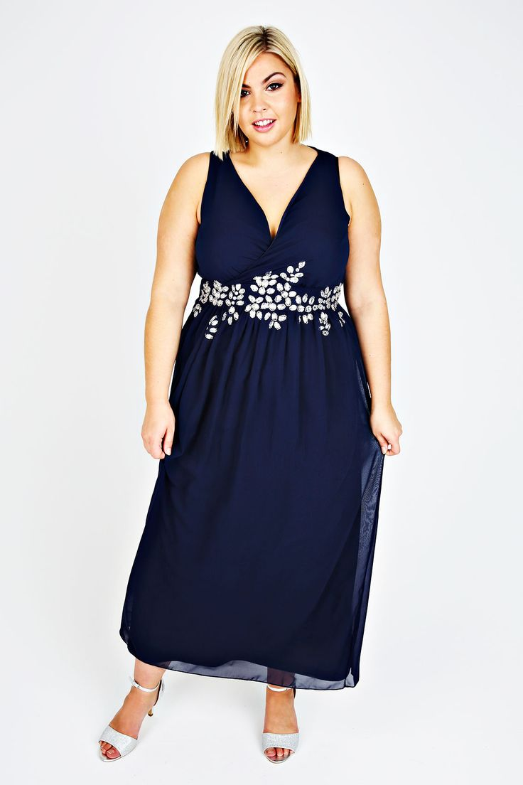 Navy Cross Over Maxi Dress With Embellished Waist Plus Yours UK
