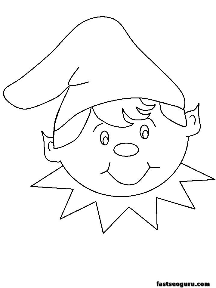 christmas coloring pages printable for applique | ... pages of Christmas Elves happy faces sheets - Printable Coloring Pages