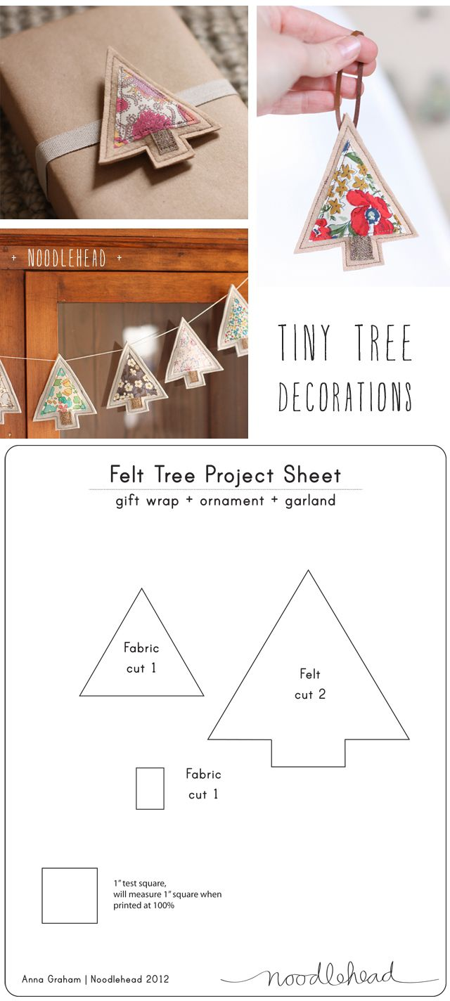 tiny tree decorations - tutorial (with free Christmas tree template) from Noodlehead http://www.noodle-head.com/2012/11/liberty-scrap-challenge-christmas.html