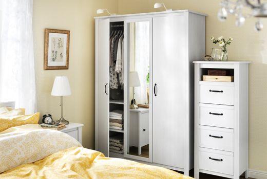 Brusali White Wardrobe 3 Doors