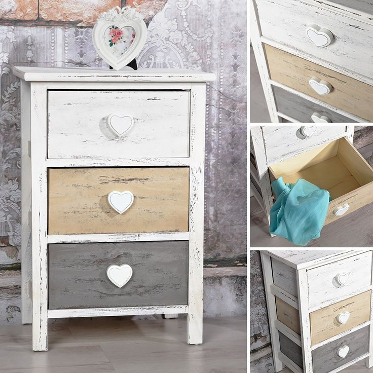 kommode shabby schrank mit 3 schubladen herz deko wei. Black Bedroom Furniture Sets. Home Design Ideas