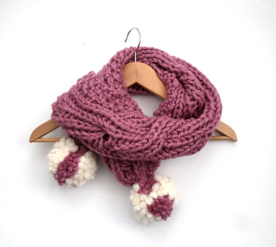 Girls chunky pink scarf  Knitted cable Scarf  by TheFeminineTouch
