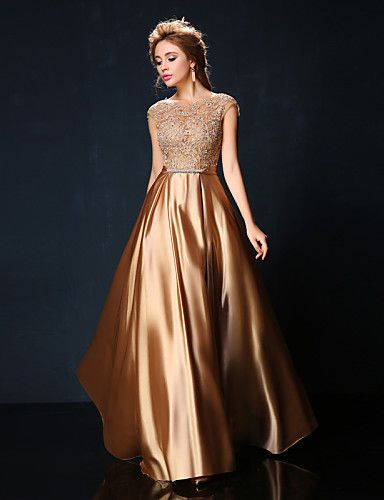 Vestido formal largo color champaña Charmeuse @ Vestidos de Fiesta Baratos Blog