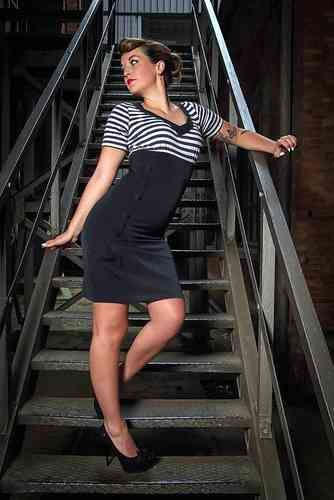 Pencil Dress Navy/Striped - Hulahup