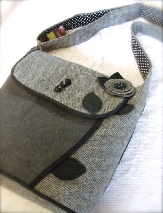 repurposed wool coats | Suit and Tie Polka Dotted Daisy RePurposed Blazer Bag Messenger with ...