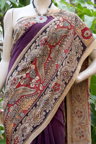 Stunning Hand Painted Kalamkari Crepe Saree