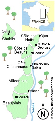 A map of the wine regions of Burgundy, ©www.thewinedoctor.com