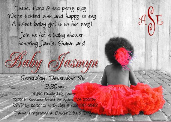 tutu baby shower invitation for african american girl