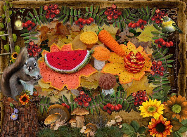 Осенний натюрморт!. Осенняя изысканная гамма, Бархоток жёлтых, красных астр букет, Оправлен мною в золотую раму,— Как будто нежный Осени портрет.