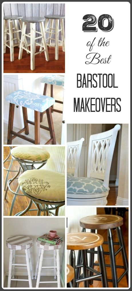 "Here are some of the best barstool makeovers on the web! Great ideas of different ways to turn a ""blah"" barstool into one that's an accent piece for your kitchen!"