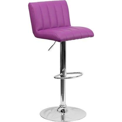 iHome Estella Purple Vinyl Adj. Bar/Counter Height Stool w/Chrome Base & Footrest for Home/Dining/Kitchen