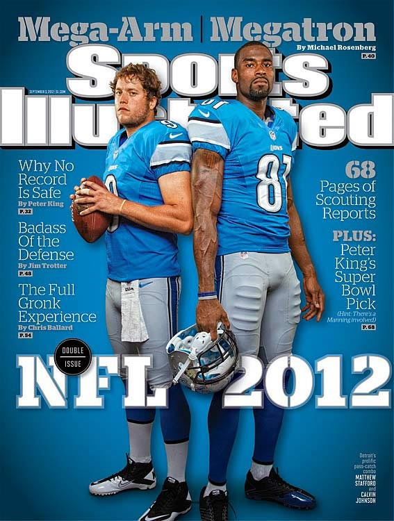 Matthew Stafford and Calvin Johnson, the most prolific quarterback-receiver combination in football, have lifted the #Detroit #Lions -- and are ready to shake up the record book, too.  They appear on the regional cover of the September 3, 2012 issue of Sports Illustrated. #Football