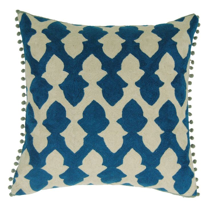 Bring exotic geometric design to your interior with this Lattice cushion by Niki Jones. It features a beautiful Moroccan tile lattice design in teal that has been scaled up and simplified. Two of t...