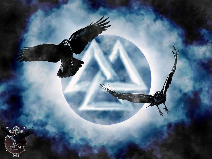 Viking art with the ravens Huginn and Muninn in front of a Valknut...  The meaning of the Valknut is largely unknown, but it is thought to represent Viking warriors fallen in battle...