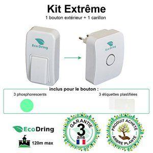 EcoDring ✮ Sonnette Ecologique Sans fil Sans pile EXTREME ✮ garantie 3 ans, 120m, résistant à l'eau + stickers pour nom + phosphorescents,…