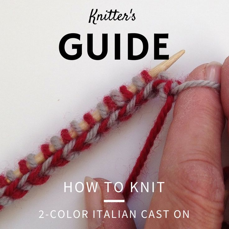 "How To Knit the 2-Color Italian Cast On  The Italian 2 Color Cast-on (also known as the Brioche 2 Color Cast-On) can  be used with any project, and a must for beginning a 2 color brioche  knitting project. Below, we'll walk you step by step how this cast on is  created.   Leaving approximately 5"" tails, make a *slipknot with both strands of  yarn.   * Slipknot with both strands are dropped when the cast-on is completed.    1. Insert the tip of the right needle between those 1st 2 stitches…"