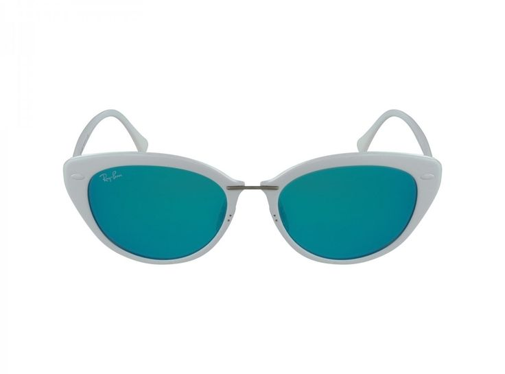 Ray-Ban INJECTED WOMAN SUNGLASS - SHINY WHITE Frame GREEN MIRROR BLUE Lenses 52mm Non