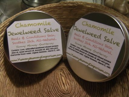 All-heal salve designed for dry skin, scrapes, rashes, poison ivy (oak, sumac), psoriasis, eczema, ITCHING. Clary Sage and Chamomile Scents   Contains: Love, wildcrafted jewelweed in pomace olive oil, sweet almond oil, avocado oil, organic aloe vera juice, organic beeswax, flower waters (chamomile or clary sage), vitamin E, reiki.   Handcrafted by Yummy Mummy Apothecary  3 oz