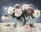 Peonies in the jug, original acrylic painting, wall art, home decor, acrylic art,  instant download