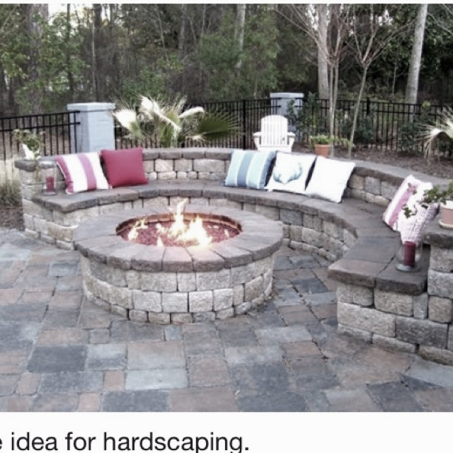64 best beautiful stone firepits images on pinterest   backyard ... - Firepit And Patio Designs