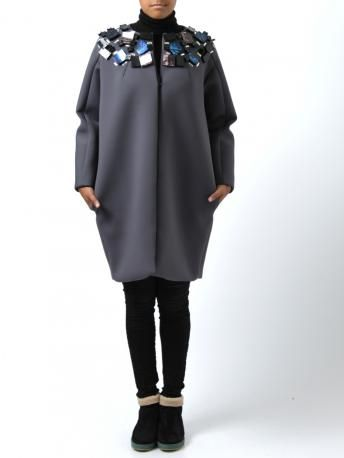 MSGM coat for woman- grey neoprene coat by MSGM (color code: 98), long sleeves, lined, jewelry applied around the neck.