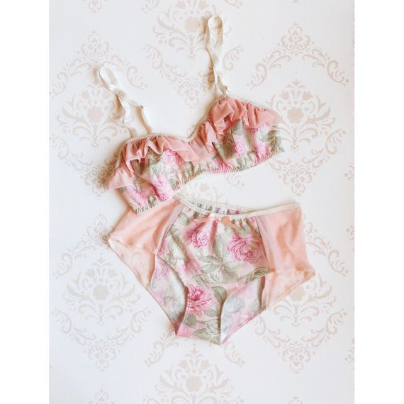 Vintage Style Lingerie Set 'Peony' Floral with Peach by ohhhlulu