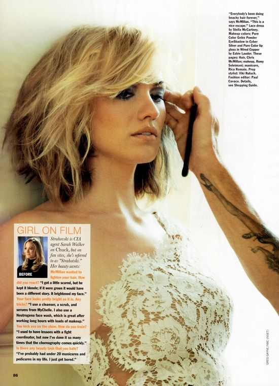 """Mother Great cut...just might make my thin hair look thick? stylist: Chris McMillan, Yvonne Strahovski photo shoot ... Chris is the hair stylist that created the """"Rachel"""" hairstyle from friends"""