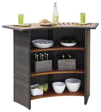 Home Styles Riviera Outdoor Woven Bar in Brown - transitional - outdoor umbrellas - cymax