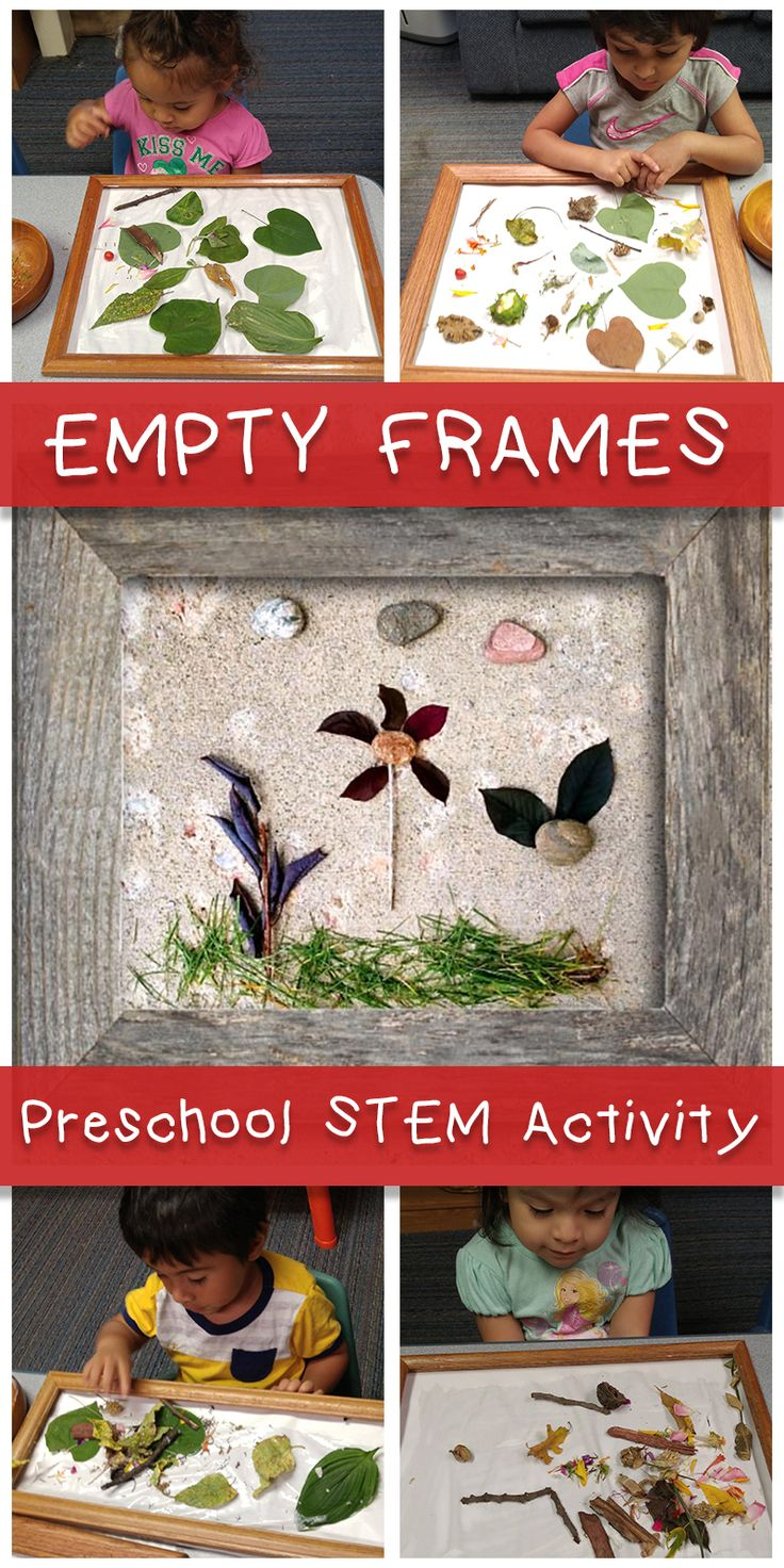 Empty Frames - A STEM activity for home or your preschool classroom! Collect natural materials and have children arrange, keeping in mind shape, size, and color.