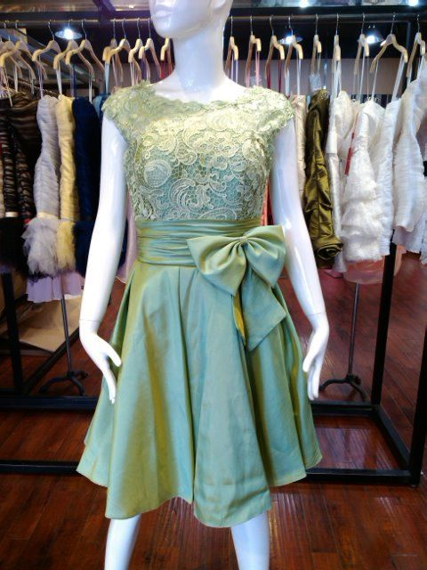 Green lace bridesmaid/prom/party dress in kneelength by AFairyland, $85.00