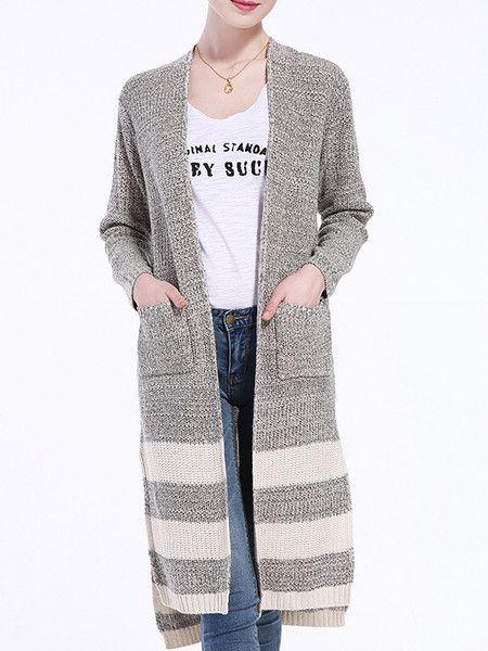 Gray Slit Knitting Cardigan