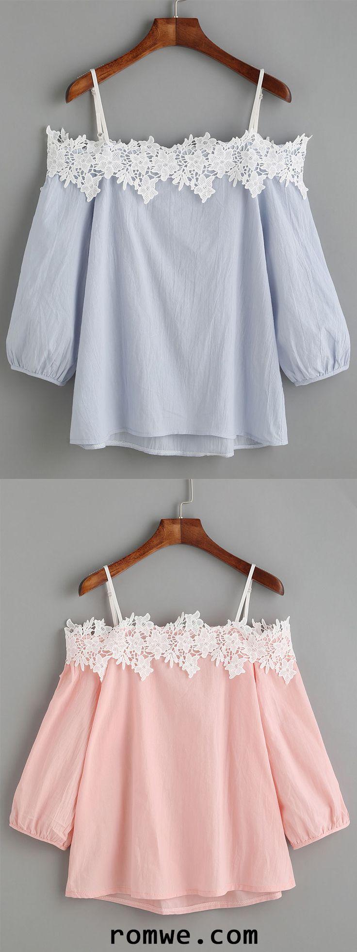 Embroidered Lace Applique Cold Shoulder Blouse