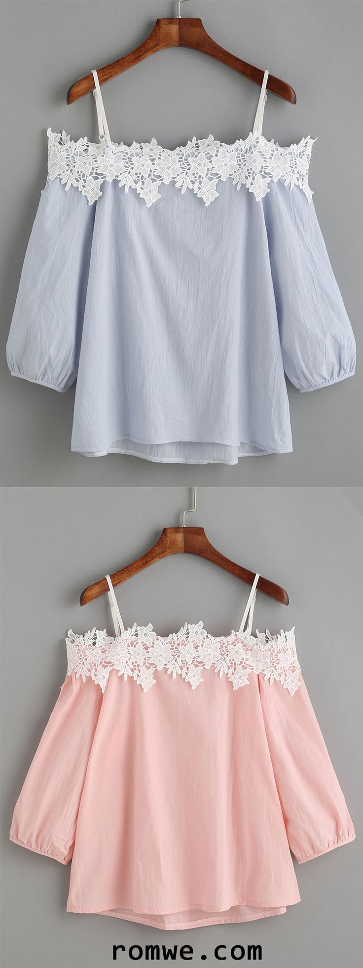 Embroidered Lace Applique Cold Shoulder Blouse