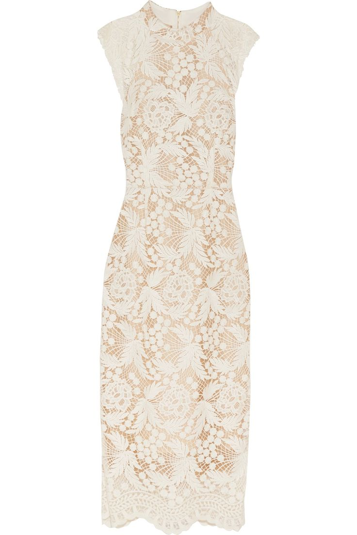 Rebecca Vallance's midi dress is made from white guipure lace with a structured tulle backing. It has a feminine raised neckline and thoughtfully placed darts to streamline your silhouette. The beige lining ensures total yet discreet coverage.