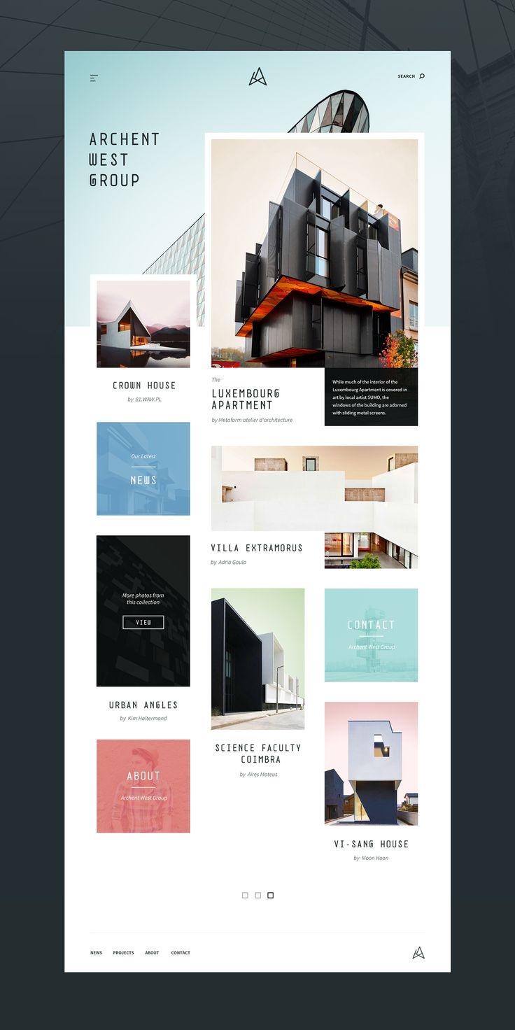 Architecture Website Concept (PSD + Sketch) on Behance