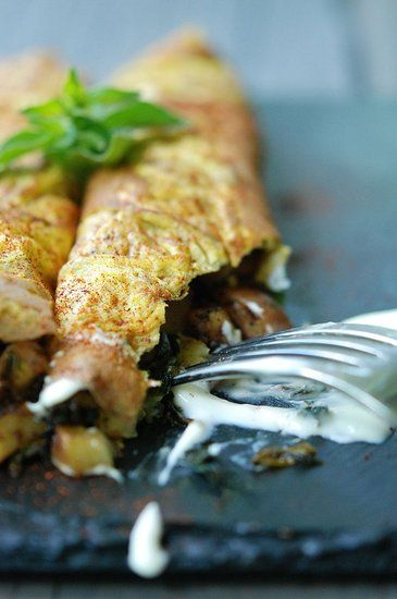 Savory Pancakes with Eggs, Crispy Potatoes, Greens & Creme Fraiche (Gluten-Free, Grain-Free) by freshtart #Pancakes #Savory #freshtart